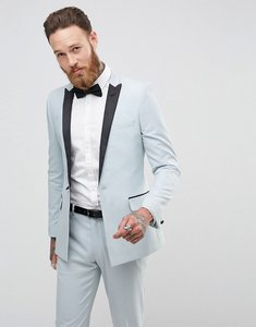 Read more about Asos wedding skinny tuxedo suit jacket in ice blue - blue