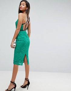 Read more about Asos geo lace sexy pencil midi dress - emerald green