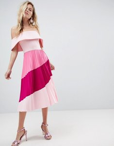 Read more about Asos scuba bardot colourblock pleated midi dress - pink