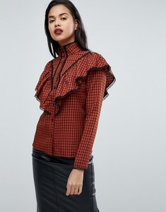 Read more about Fashion union check shirt with ruffle layer - rust check