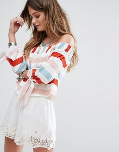 Read more about Lovers friends dream lover off the shoulder top - bold stripe