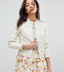 Read more about Vero moda tall leather look biker jacket - oatmeal