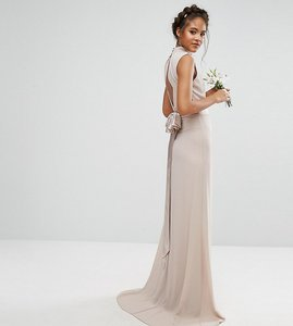 Read more about Tfnc tall wedding high neck maxi dress with bow back - mink