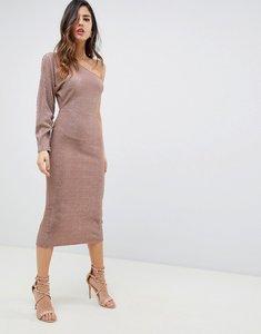 Read more about Asos design one sleeve metallic plisse midi dress - mink