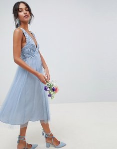 Read more about Asos design bridesmaid dobby mesh and lace mix midi dress - dusty blue