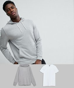 Read more about Asos hoodie longline tshirt 2 pack grey marl white save - grey marl white
