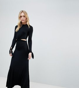 Read more about Asos design tall maxi dress with long sleeve and cut outs - black