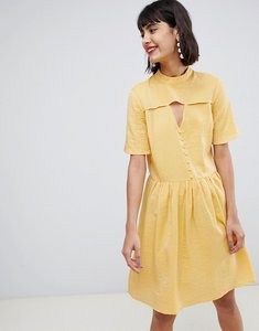 Read more about Pieces tea dress with button detail - buff yellow