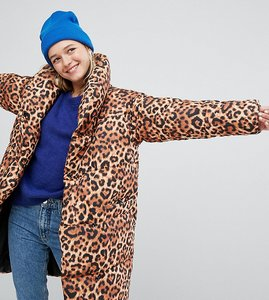 Read more about Monki leopard print padded oversized coat - multi