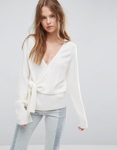Read more about Asos jumper with wrap and tie - cream