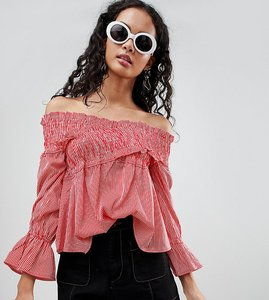 Read more about Influence tall stripe bardot top with shirred detail - red stripe