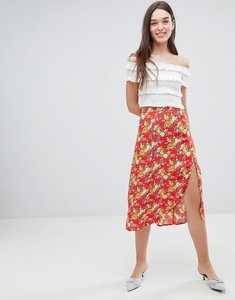 Read more about Miss selfridge floral side button midi skirt - multi