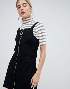 Read more about Chorus circle puller zip up denim pinafore dress - worn black