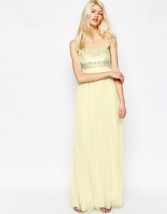 Read more about Needle thread strappy backless tulle embellished maxi dress - lemon