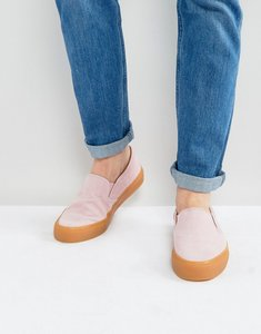 Read more about Asos slip on plimsolls in pink cord with gum sole - pink
