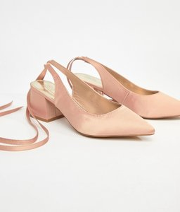 Read more about Asos sweetheart bridal pointed heels - nude satin