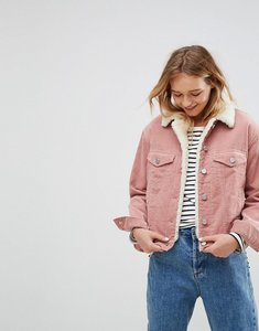 Read more about Asos cord jacket with borg collar in washed pink - pink