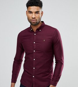 Read more about Farah tall skinny fit button down oxford shirt in burgundy - red