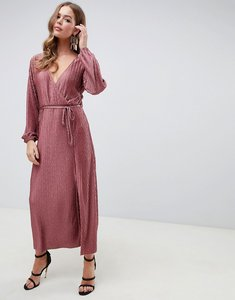 Read more about Asos design chevron plisse maxi dress with self belt