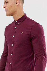 Read more about Farah brewer slim fit oxford shirt in burgundy - bordeaux
