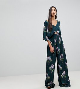 Read more about Asos tall jumpsuit with kimono sleeve and wide leg in print - multi
