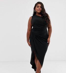 Read more about John zack plus one shoulder asymmetric midi dress with thigh split in black