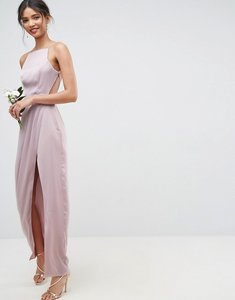 Read more about Asos wedding drape front strappy back maxi dress - mink