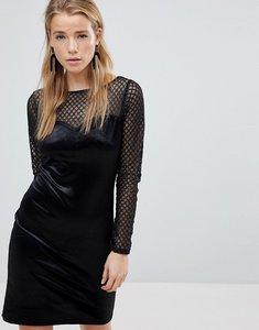 Read more about New look long sleeve fishnet velvet dress - black