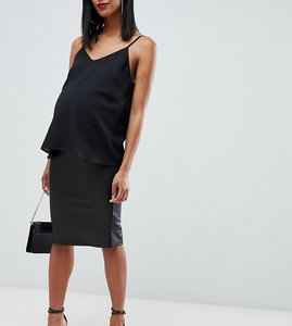 Read more about Asos design maternity leather look pencil skirt - black