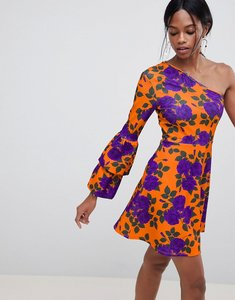 Read more about Asos design one shoulder mini skater dress with double bubble sleeve - orange bloom print