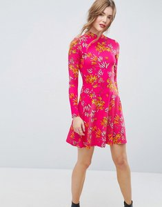 Read more about Asos mini tea dress with high neck in pink bamboo print - bamboo print