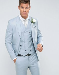 Read more about Asos wedding skinny suit jacket in 100 wool in ice blue - light blue