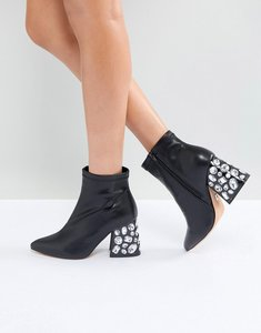 Read more about Lost ink black embellished heeled ankle boots - black