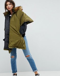 Read more about Asos quilted parka cape with hood - green