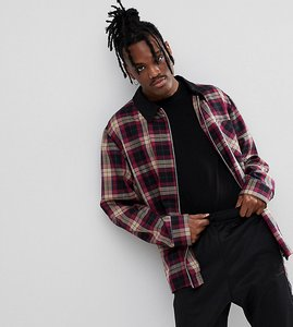 Read more about Reclaimed vintage inspired check coach jacket with contrast collar - burgundy