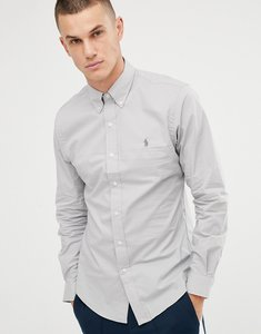 Read more about Polo ralph lauren player logo slim fit poplin shirt buttondown in light grey - blue grey