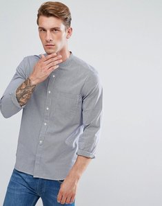 Read more about French connection shirt with grandad collar in gingham blue - blue blood