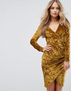 Read more about Club l plunge wrap front ruched side dress in velvet - ochre