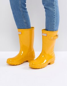 Read more about Hunter original short gloss wellington boot in yellow - yellow