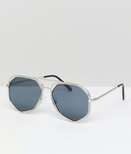 Read more about 7x hexagon aviator sunglasses with coloured lens - silver