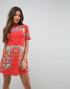 Read more about Asos premium mini embroidered dress - orange