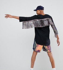 Read more about Asos design tall festival regular fit longline shirt with rainbow tassles - black
