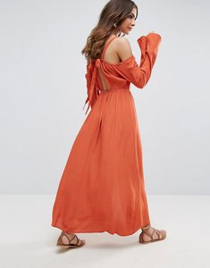 Read more about Somedays lovin endless trail cold shoulder festival maxi dress - terracotta