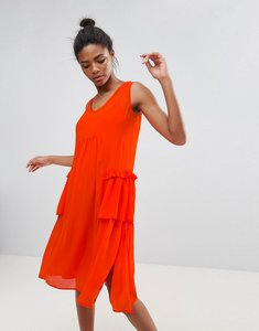 Read more about French connection rosie drape midi dress - red sunrise
