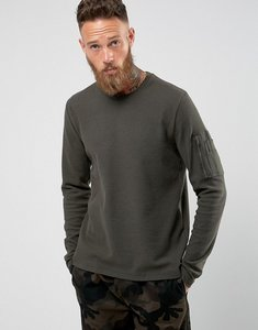 Read more about Brave soul waffle long sleeve with military arm pocket - green