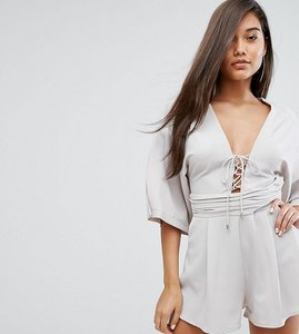 Read more about Parallel lines playsuit with lace up front and kimono sleeves - grey