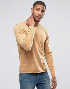 Read more about Another influence basic raw edge long sleeve top - tan