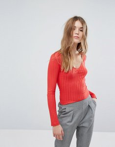 Read more about New look wide rib vneck long sleeve jersey top - red