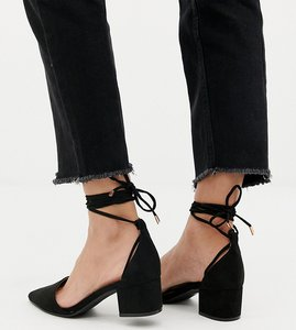 Read more about Raid wide fit lucky black ankle tie mid heeled shoes - black suede