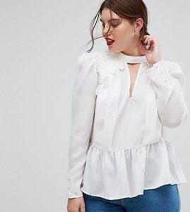 Read more about Asos curve plunge victoriana blouse with cotton lace detail - ivory